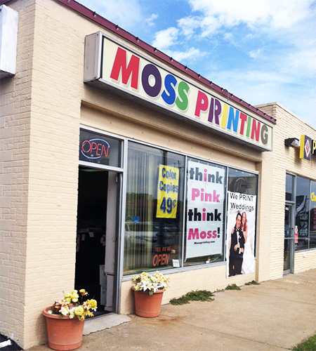 Photo of the front of Moss Printing in Mission, Kansas